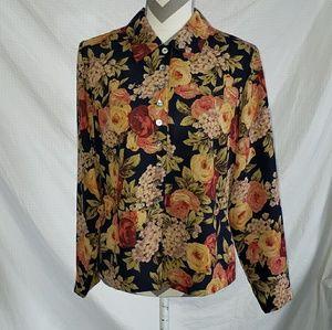 Susan Bristol flowered blouse size 8